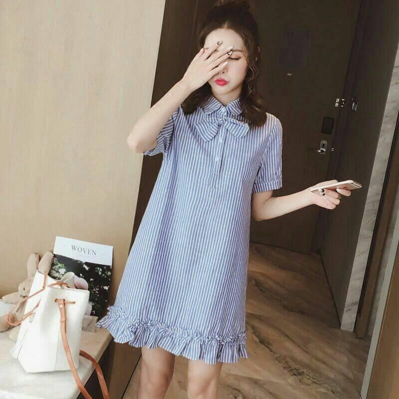 Dress3911 งานนำเข้าสไตล์เกาหลี ชุดเดรสคอปกเชิ้ตแต่งโบว์ แขนสามส่วน ชายระบาย ผ้าลินินเนื้อดีหนาสวยลายริ้วโทนสีฟ้าขาว งานเก๋ๆ ใส่สวย ใส่ง่าย น่ารักมาก