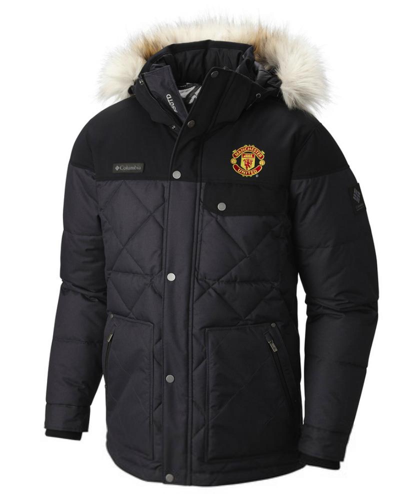เสื้อแจ็คเก็ตแมนเชสเตอร์ ยูไนเต็ด Columbia Barlow Pass 550 Turbo Down Quilted Jacket สีดำของแท้