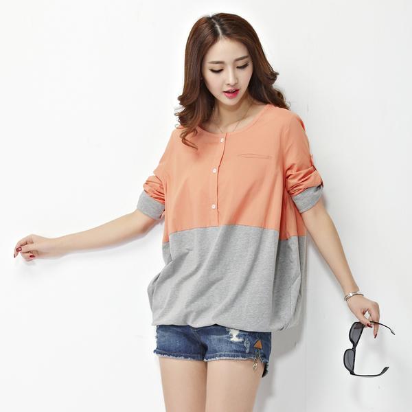 เสื้อทีเชิ้ตบาง สีส้มอมชมพู (XL,2XL,3XL,4XL,5XL) 18879
