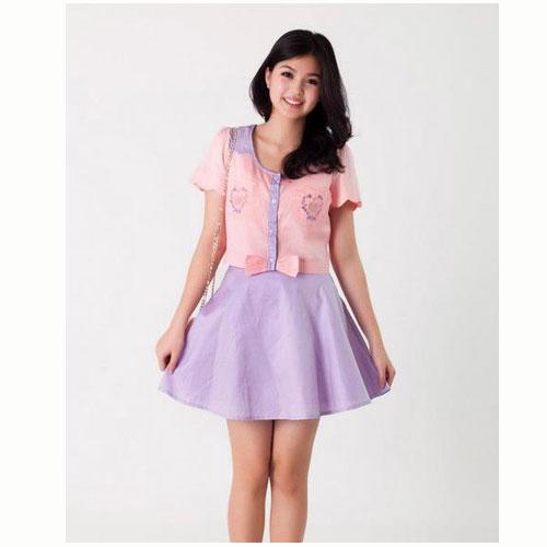 [[พร้อมส่ง]] Set0359 : Set เสื้อ+กระโปรง สุดน่ารักใส่แยกหรือเป็นเซตก็ได้คะ สุดคุ้มเลยเซตนี้!!! / เสื้อชมพู+กระโปรงม่วง