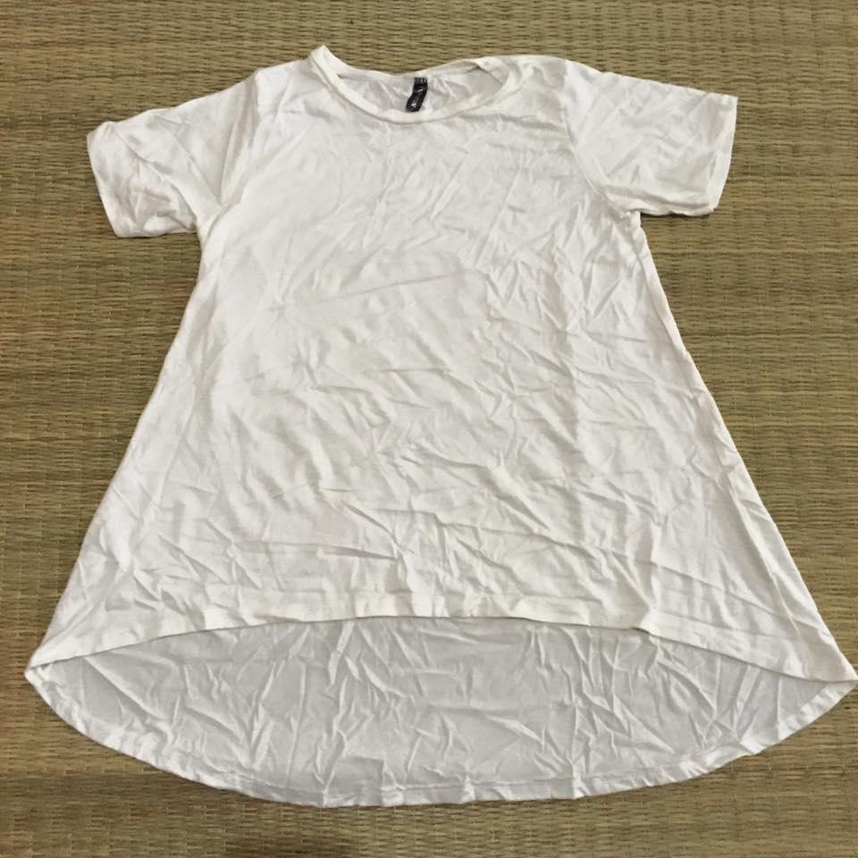 """""""พร้อมส่ง""""เสื้อผ้าแฟชั่นราคาถูก เสื้อแขนสั้น หน้าสั้นหลังยาว สีขาว"""