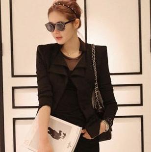 """size L """"พร้อมส่ง""""เสื้อผ้าแฟชั่นสไตล์เกาหลีราคาถูก Brand Chuvivi เสื้อคลุมสีดำ ปกซ้อน2ชั้น กระดุม1เม็ด เสริมฟองน้ำที่ไหล่ มีซับใน size L"""
