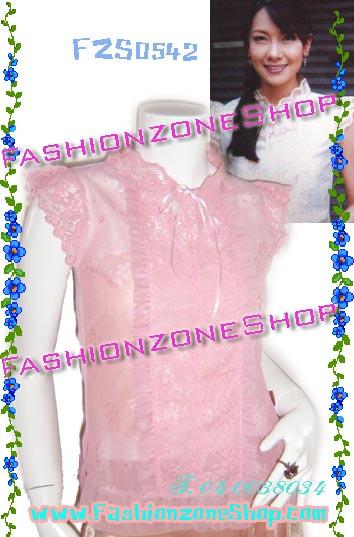 #หมด#รอบนี้มีไม่มาก# เสื้อนุ่น วรนุช:FZS0542 ::Beauty<PinK> Design Lace Shiffon: เสื้อผ้าชีฟองคอปีนลูกไม้อย่างดีใส่สบาย แถบหน้าแต่งลูกไม้ ชายผ้าโปร่ง