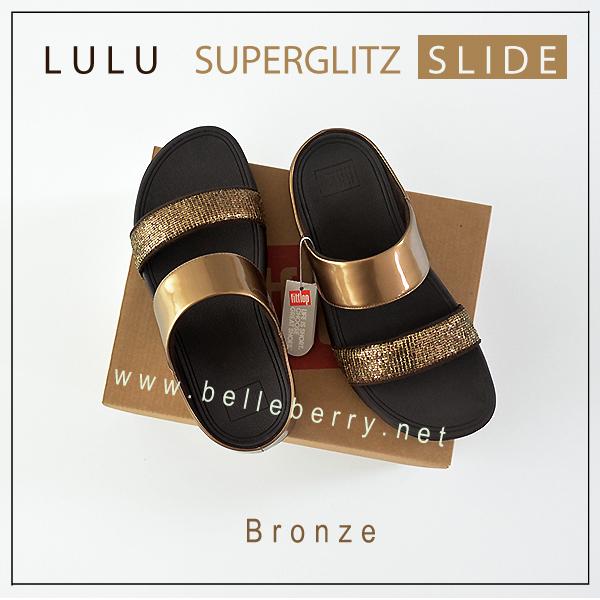 FITFLOP LULU SUPERGLITZ SLIDE : BRONZE : US 5 / EU 36