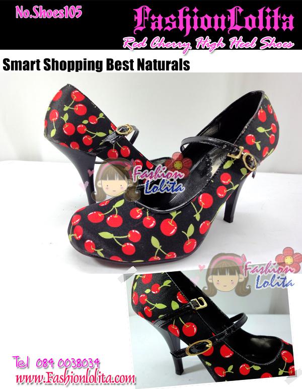 Shoes105 Red Cherry High heel Shoes ใหม่! รองเท้าคัชชูส้นสูงลายเชอรี่ น่ารักมากมีสายคาดถอดง่าย ไซส์ 37
