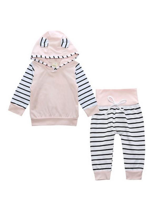 ชุด 2 ชิ้น เสื้อยืดผ้านิ่มเด้งมีฮูทสีชมพู + กางเกงลายขวาง