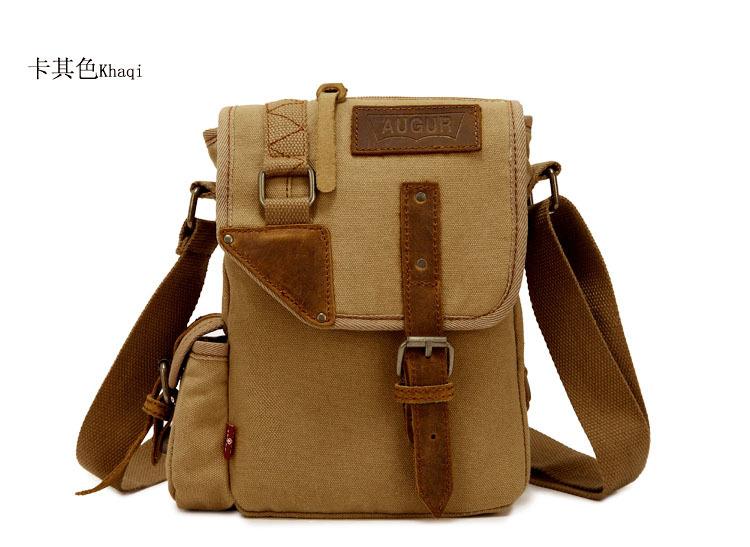 กระเป๋าสะพายข้าง พร้อมส่ง สีักากี ผ้าแคนวาส ตัดแต่งด้วยหนังสีน้ำตาล ออกแบบเท่ห์ ใส่ ipad ได้ สายปรับความยาวได้ ใส่ จุของได้เยอะ