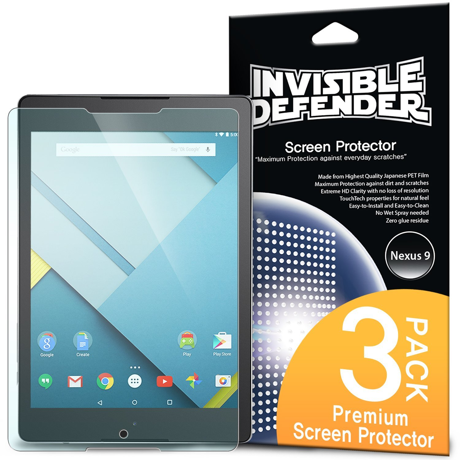 Nexus 9 Screen Protector - Invisible Defender (Pack 1)