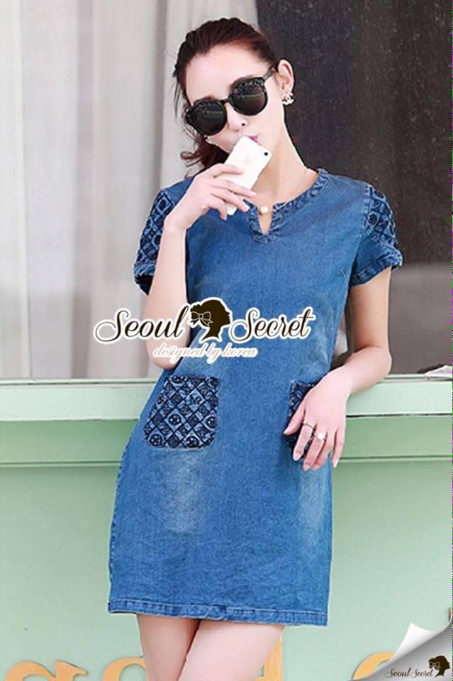 ชุดเดรสเกาหลี พร้อมส่งLV Pocket stick Denim Dress