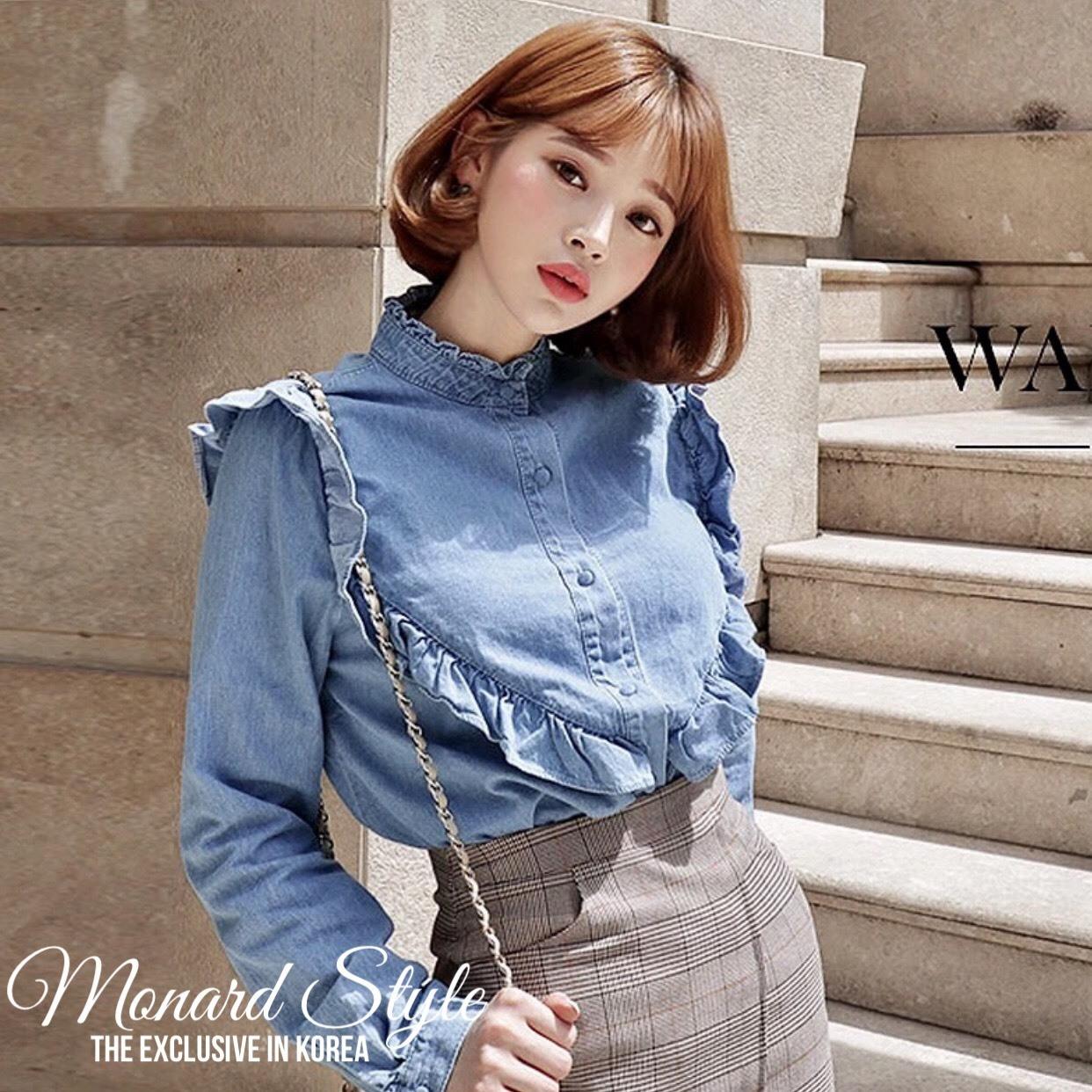 เสื้อผ้าแฟชั่นเกาหลีพร้อมส่ง เสื้อยีนส์แขนยาวผ้านิ่มสวย