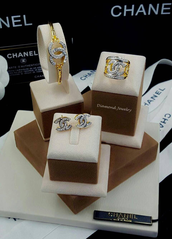 พร้อมส่งChanel Bangle + Ring + Earring งานชุบ 5 ไมครอนเต็ม