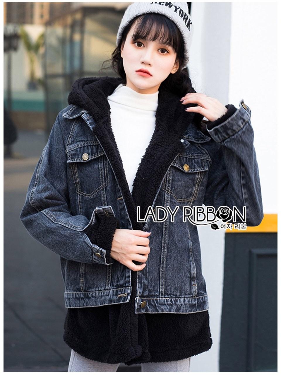 เสื้อผ้าเกาหลีพร้อมส่ง เซ็ตเสื้อแจ็กเก็ตเดนิมทับเสื้อโค้ทตกแต่งฮู้ดขนแกะสีน้ำเงินเข้ม