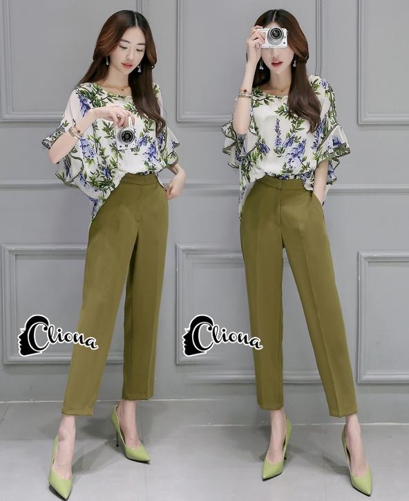 เสื้อผ้าเกาหลี พร้อมส่งGreen Garden Luxury Set
