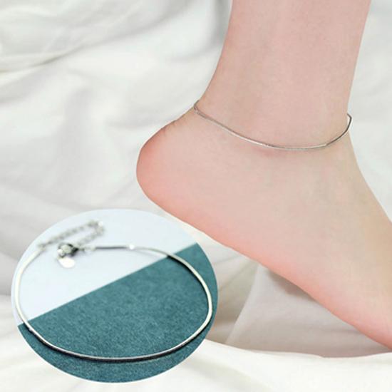 สร้อยข้อเท้าเกาหลีแบบห่วงเดียวประดับเงิน