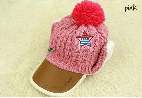 หมวกถัก สีชมพู