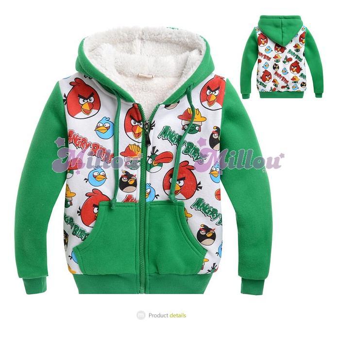 เสื้อกันหนาว Angry birds สีเขียว ซิปหน้า
