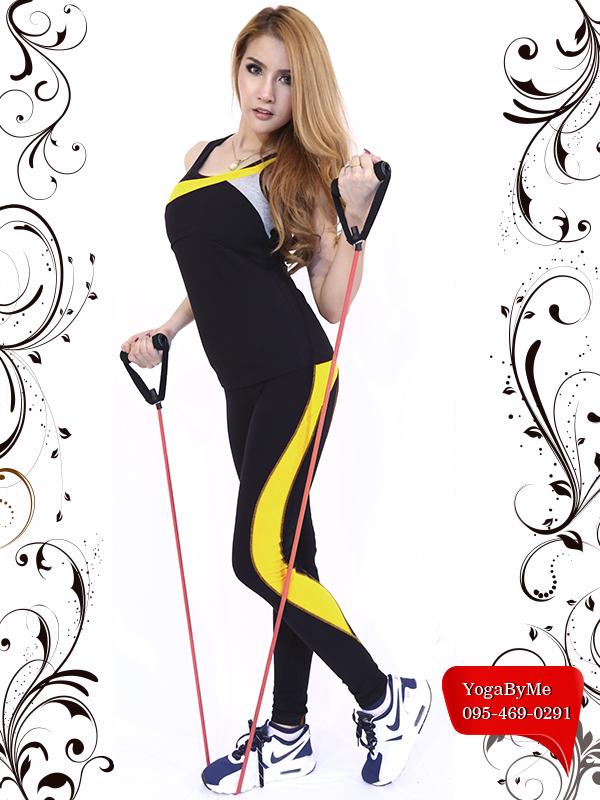 AC602-61 กางเกงโยคะขายาวทรงเดฟ สีดำ/เหลือง