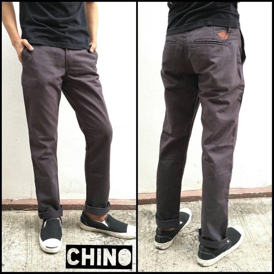 กางเกงขายาว(CHINO) ผ้าฟอก สีเทาดิน