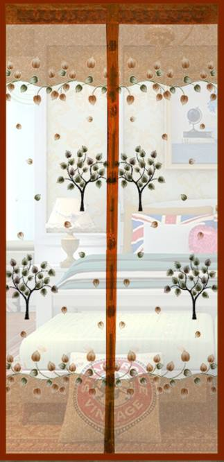 มุ้งประตูแม่เหล็ก สีน้ำตาล ลายต้นไม้ ขนาด 90x210 ซม. แม่เหล็ก้อน และเส้นแม่เหล็กในตัว