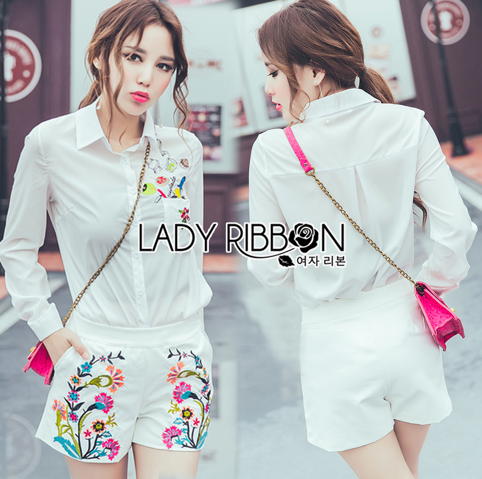 Lady Grace Minimal Chic Colourful Embroidered White Shirt and Shorts Set L257-85C07