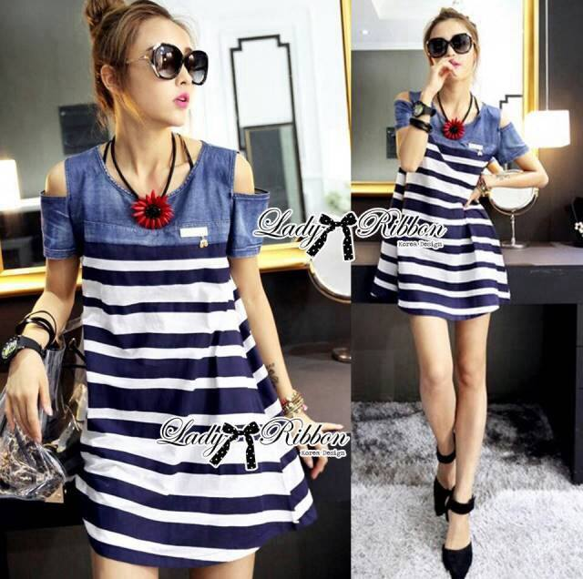 DR-LR-287 Lady Rita Casual Style Cut-Out Denim Striped Dress