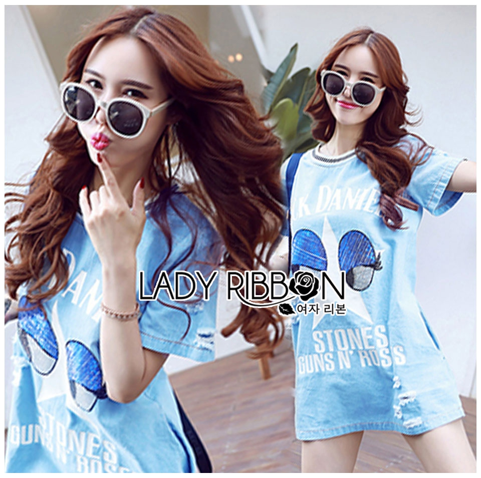 Lady Julie Sporty Style Printed and Sequin Denim Dress L254-75C01