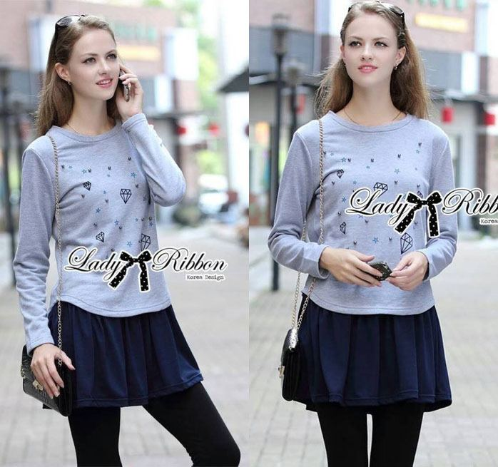 DR-LR-235 Lady Jewellery Embellished Sweater and Jersey Dress Set