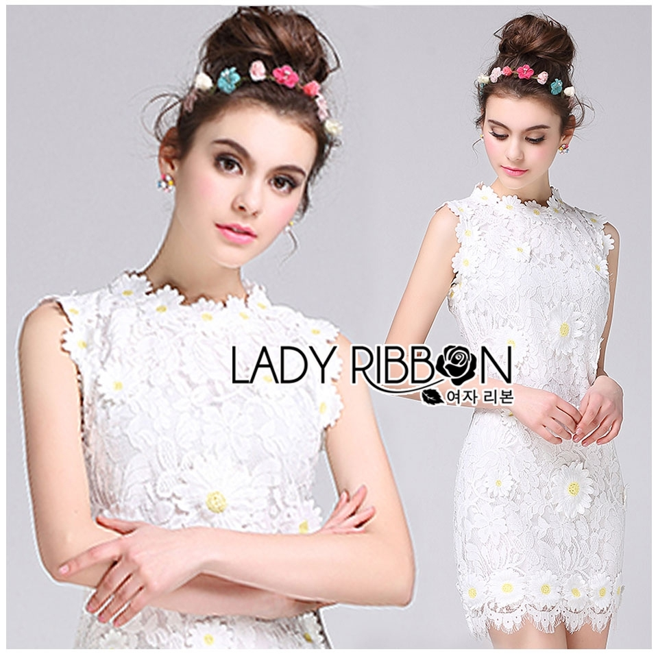 Lady Christine Little Daisy Embroidered White Lace Mini Dress L236-75C01