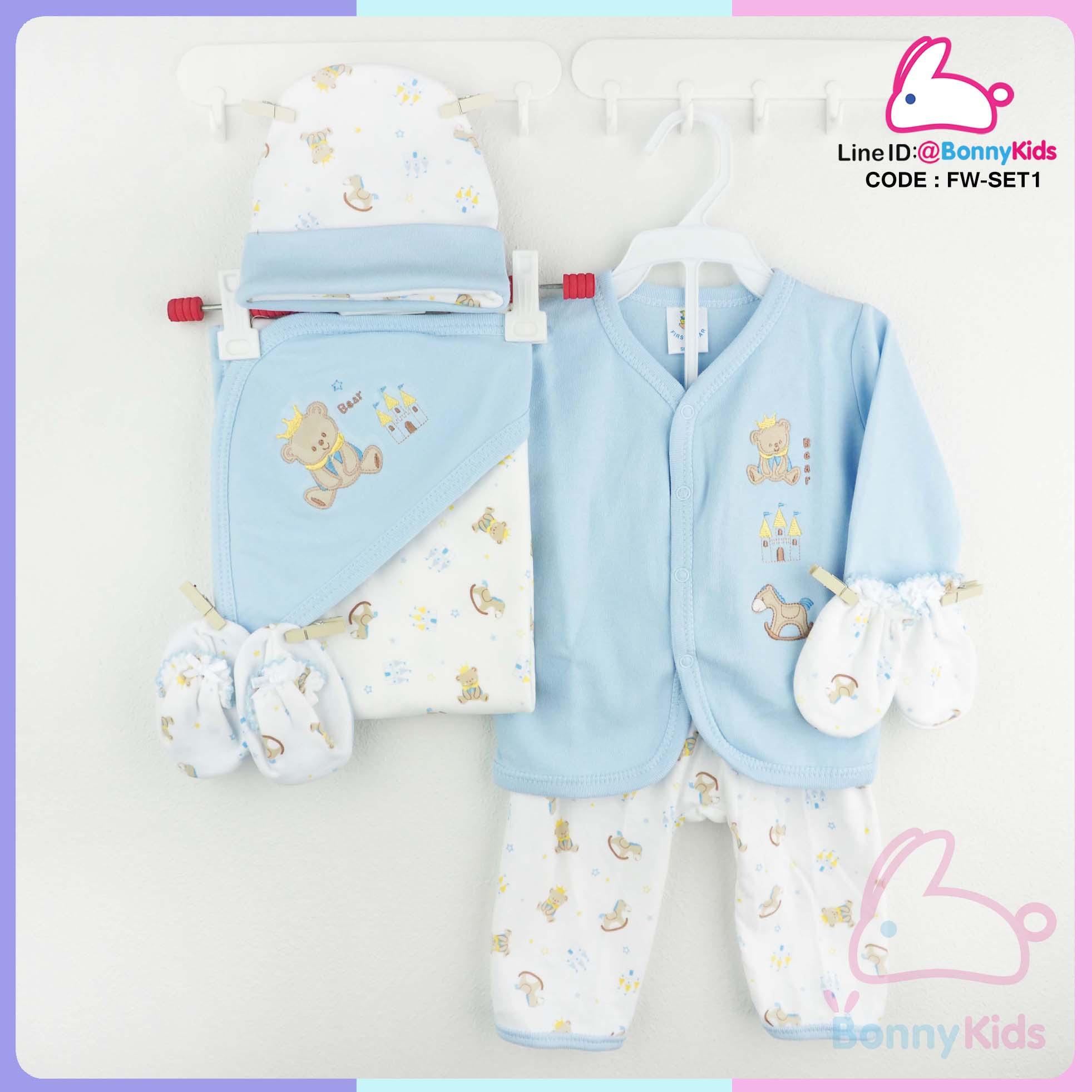 เซ็ตชุดเด็กแรกเกิด 6 ชิ้น ผ้า cotton 2 หน้า เกรด premium เนื้อผ้านิ่มฟู สวมใส่สบาย