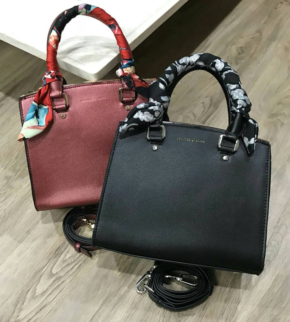 CHARLES & KEITH Scarf Detail Top Handle Bag
