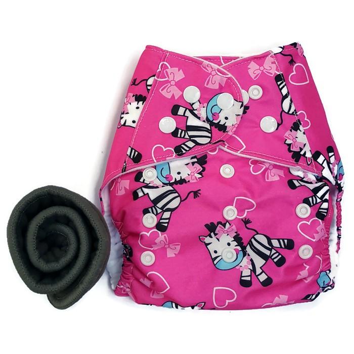 กางเกงผ้าอ้อม PUL +แผ่นซับชาโคล Zebra Pink