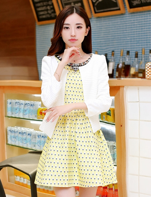 ชุดทำงานแฟชั่นเกาหลีสวยๆ ชุดทำงานออฟฟิศ ชุดเซ็ท 2 ชิ้น เสื้อคลุม + มินิเดรสสั้นสีเหลือง ผ้า Jacquard ( S,M,L,XL )