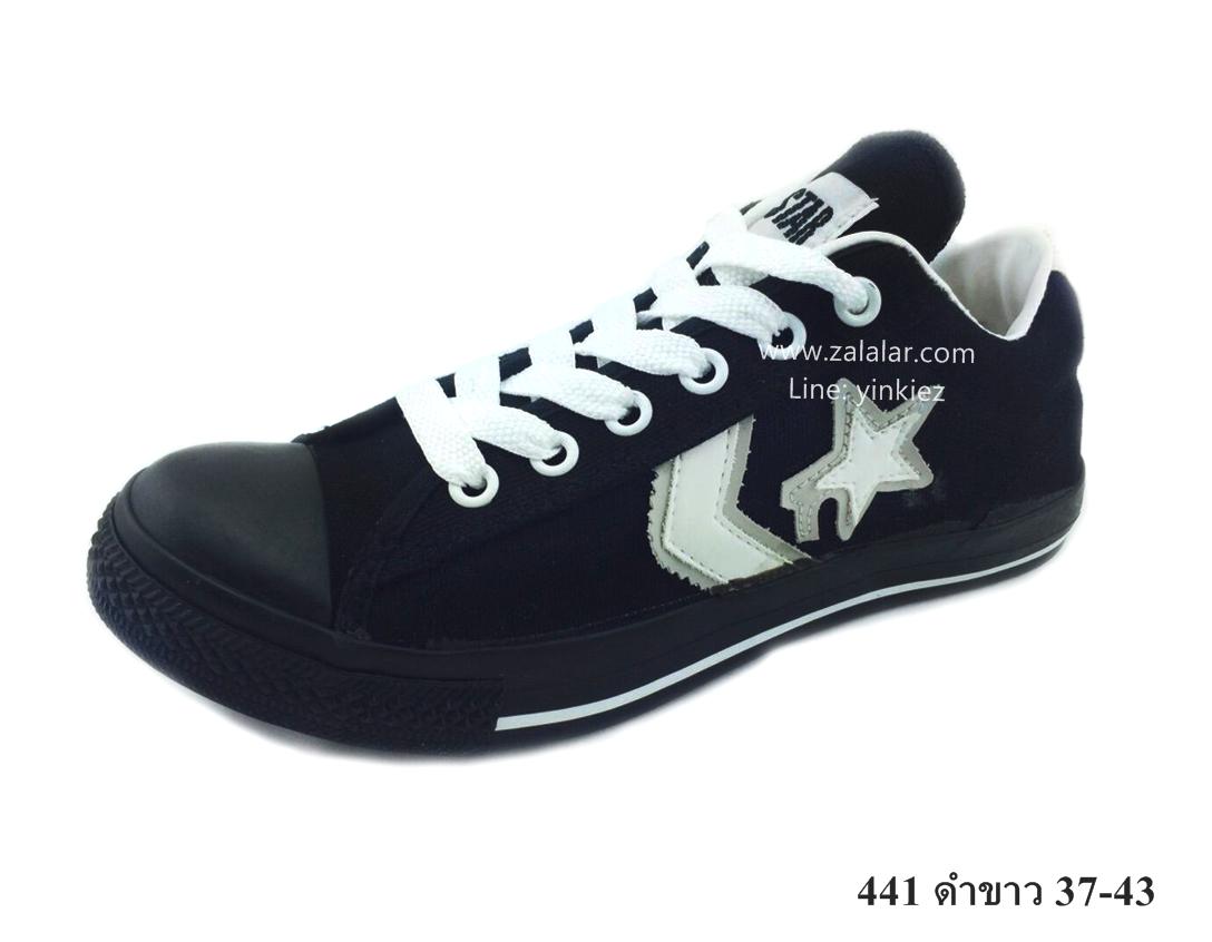 [พร้อมส่ง] รองเท้าผ้าใบแฟชั่น รุ่น 441 สีดำขาว
