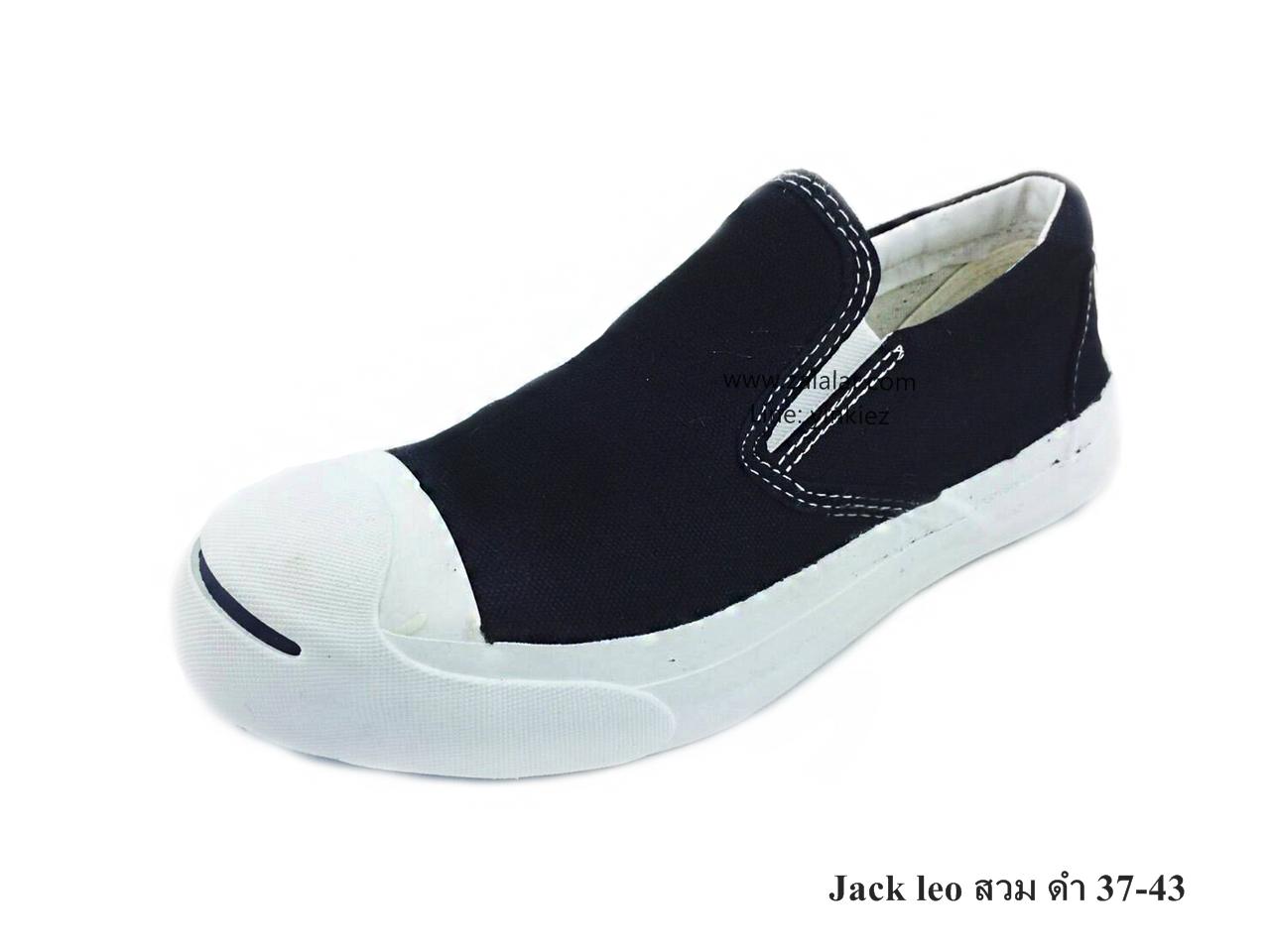 [พร้อมส่ง] รองเท้าผ้าใบแฟชั่น รุ่น Jack Leo แบบสวม สีดำ