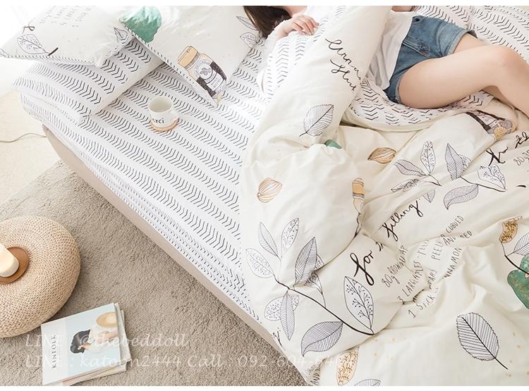 ผ้าปูที่นอน ลายใบไม้ สีครีม-ขาว
