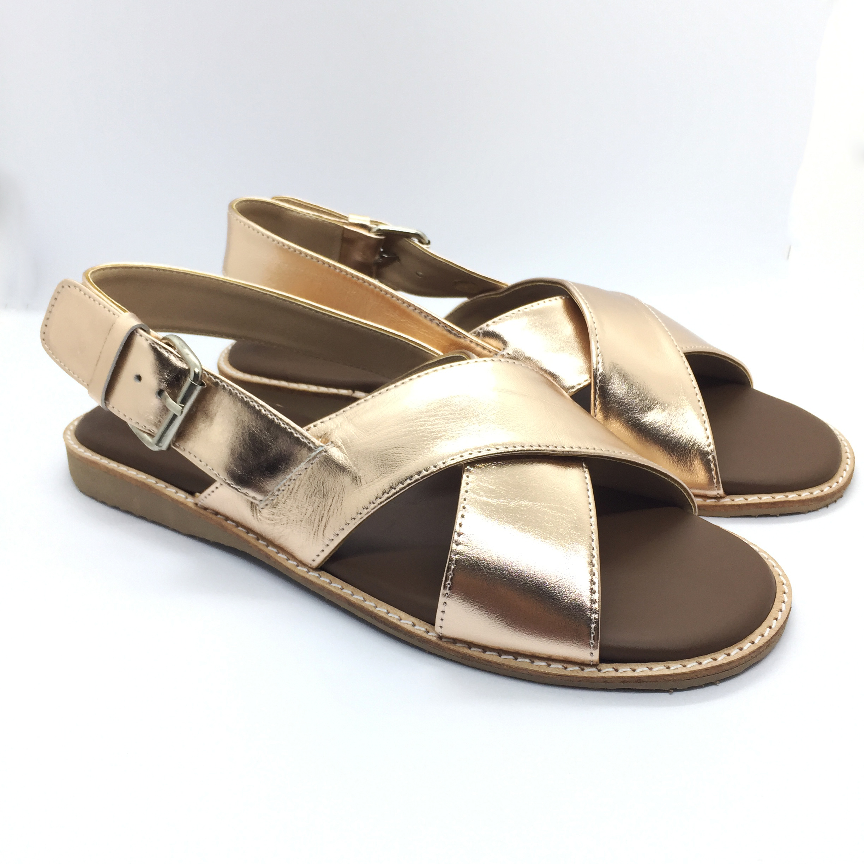 Arya Leather Sandal (Rose Gold) รองเท้าแตะ แบบสวมไขว้ สีสายรัดส้น สีโรสโกลด์