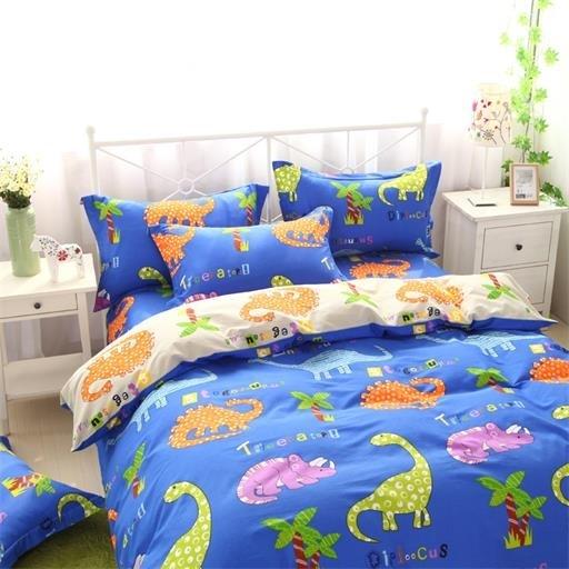 ผ้าปูที่นอน ลายไดโนเสาร์ สีสันสดใส