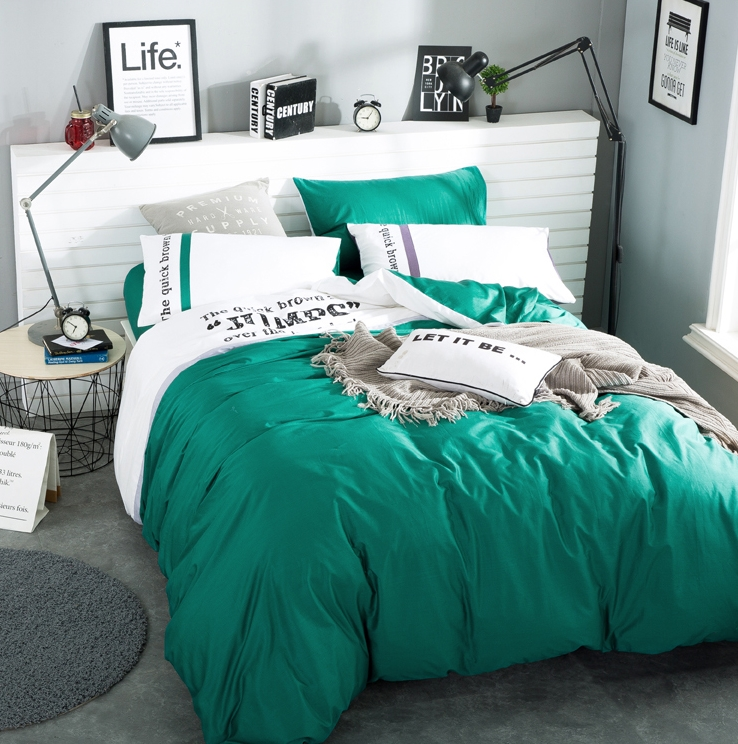 ผ้าปูที่นอน สีพื้นสีเขียว-ขาว