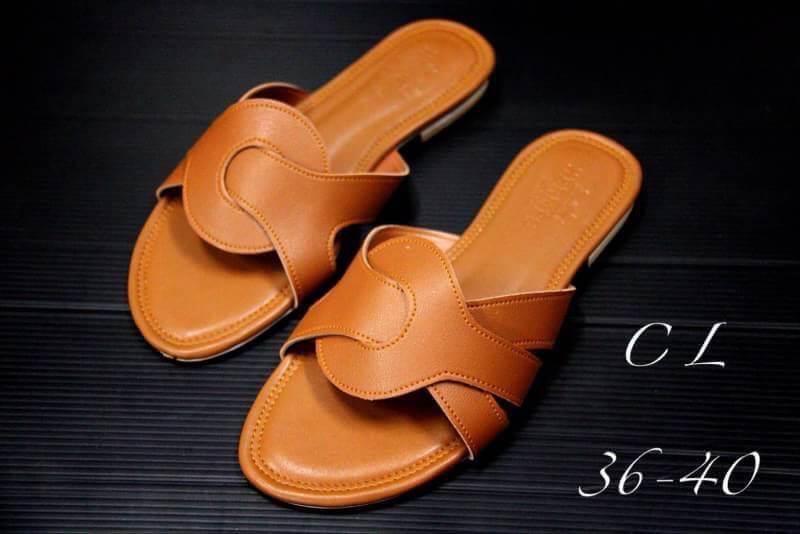 รองเท้าแตะแฟชั่น แบบสวม แต่งลายสวยเก๋สไตล์แอร์เมส หนังนิ่ม ทรงสวย ใส่สบาย แมทสวยได้ทุกชุด