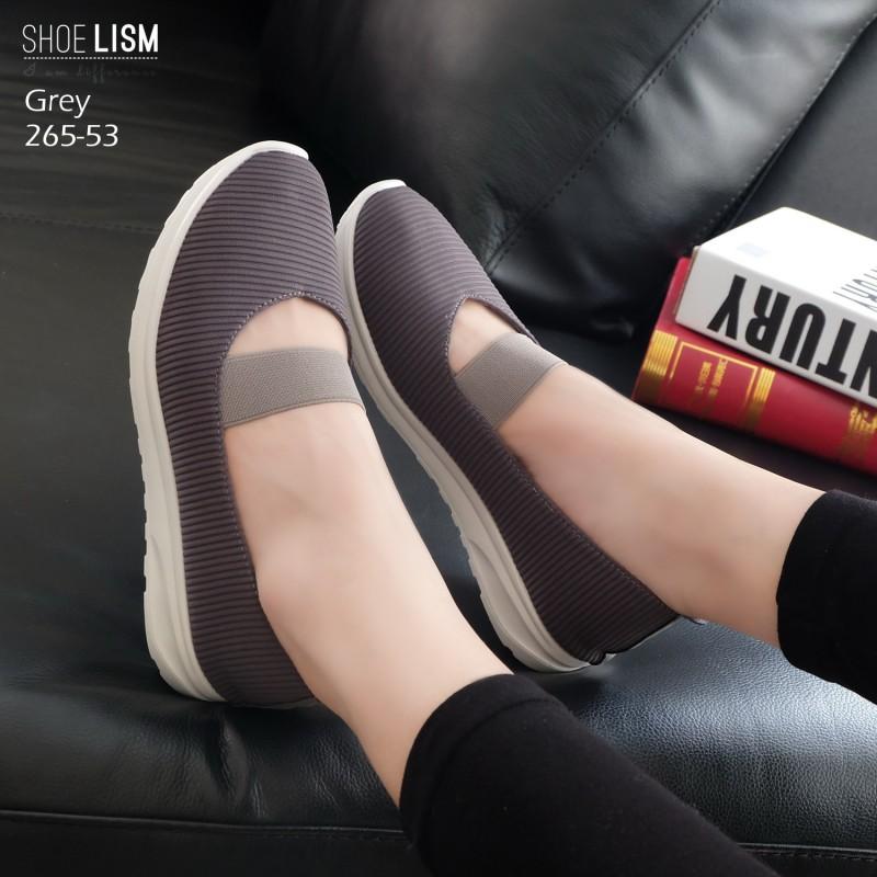 รองเท้าคัทชู ทรงผ้าใบสเกชเชอร์สวยเก๋ ทรงสปอร์ต รัดด้านหน้าเป็นแถบยางยืดได้ พื้นนิ่ม งานสวย ใส่สบาย แมทสวยได้ทุกชุด (265-53)