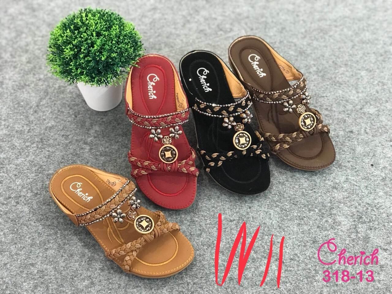รองเท้าแตะแฟชั่น แบบสวม แต่งลูกปัดสไตล์โบฮีเมียนสวยเก๋ หนังนิ่ม พื้นนิ่ม งานสวย ใส่สบาย แมทสวยได้ทุกชุด (318-13)