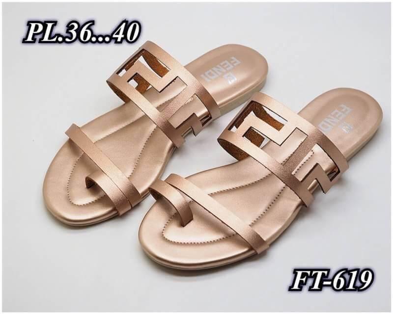 รองเท้าแตะแฟชั่น แบบสวมนิ้วโป้ง แต่งลายฉลุสไตล์เฟนดิ หนังนิ่ม ทรงสวย ใส่สบาย แมทสวยได้ทุกชุด (FT-619)