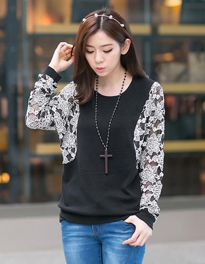 เสื้อยืดแฟชั่นคอกลมต่อแขนยาวผ้าลูกไม้สีขาว สวยหวานสไตล์เกาหลี-1547-สีดำ