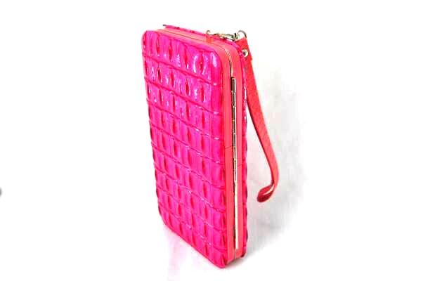 กระเป๋าสตางค์ ใส่มือถือได้ samsung ,iPhone หนังแก้วสีชมพู