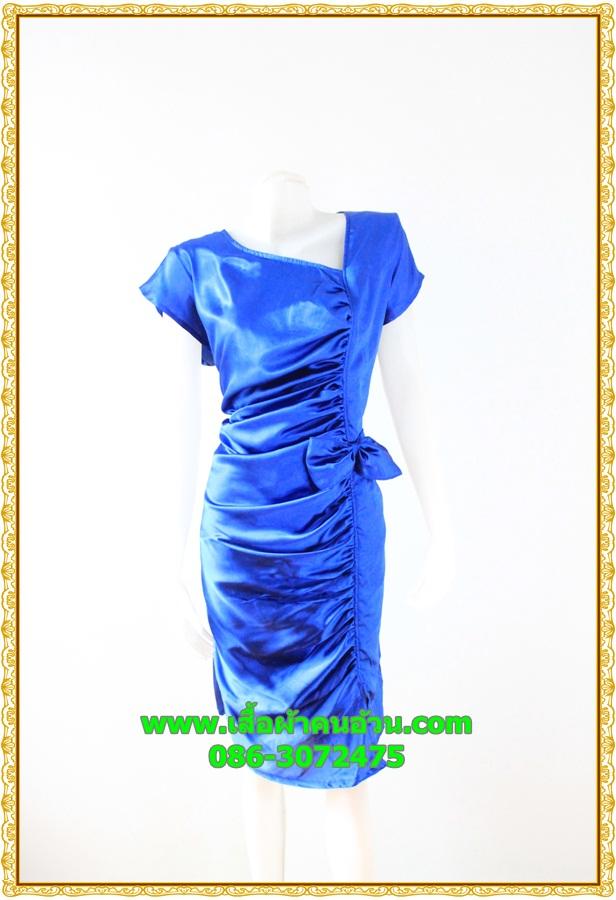 2877เสื้อผ้าคนอ้วน ชุดทำงานสีน้ำเงินสุดหรูคอวีจับเดรฟสุดปราณีตสวยงามหรูหรา น่าค้นหาเป็นที่สุด สวยและมั่นใจสไตล์ออกงาน