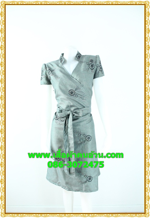 2578ชุดเสื้อผ้าคนอ้วน ชุดทำงานไหมเทียมปักลายไทยสีเทาสไตล์เปรี้ยวหรูไฮโซชุดป้ายสำเร็จเก็บทรงเนี๊ยบสุด