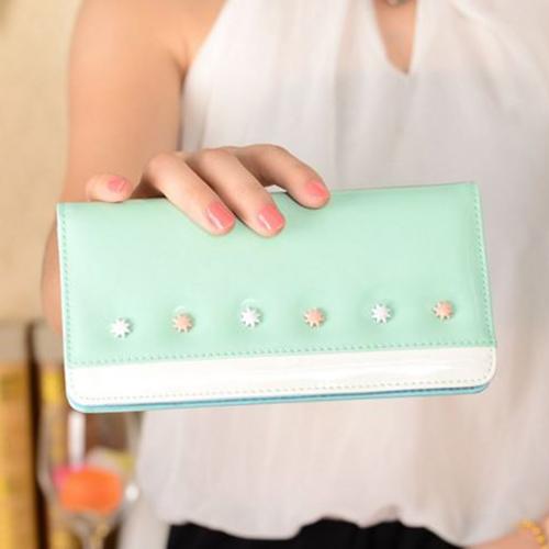 กระเป๋าสตางค์ผู้หญิง ทรงยาว หนังแก้ว รุ่น glass สีมิ้น
