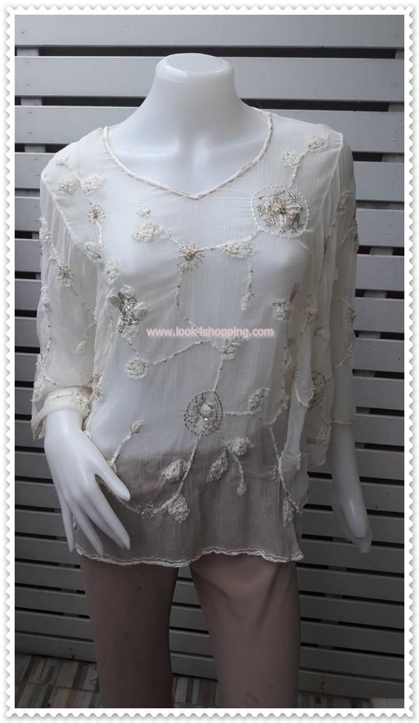 jp4987-เสื้อแฟชั่น นำเข้า สีขาวครีม อก 34-36 นิ้ว