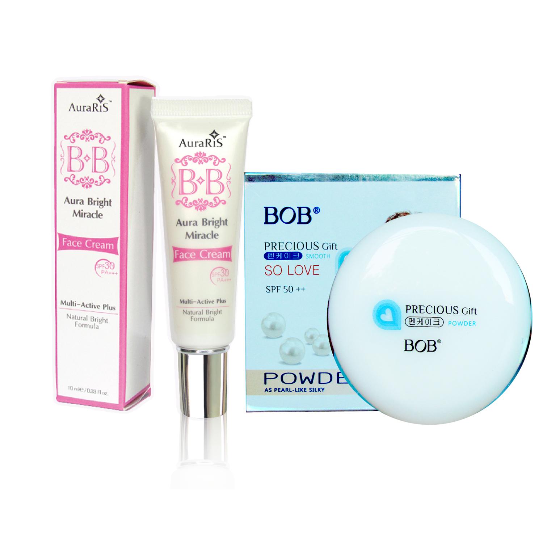 AuraRIS บีบีครีม ครีมกันแดด BB Face Cream SPF30 PA+++ - 10 ml. + BOB Precious Gift Powder SPF 50++ แป้งพัฟ เนื้อละเอียด เนียนดังไข่มุก พร้อมสารกันแดด ( 1 กล่อง)