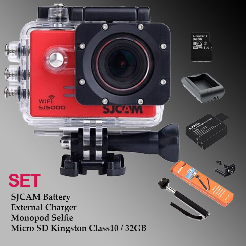 Sj5000 WiFi - Micro SD Kingston 32GB+Battery+Charger+Monopod